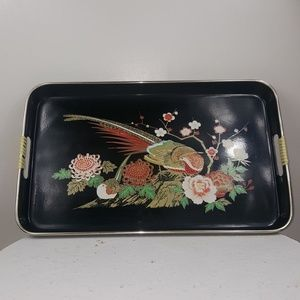 Vintage Peacock Oriental Floral Serving Decor Tray